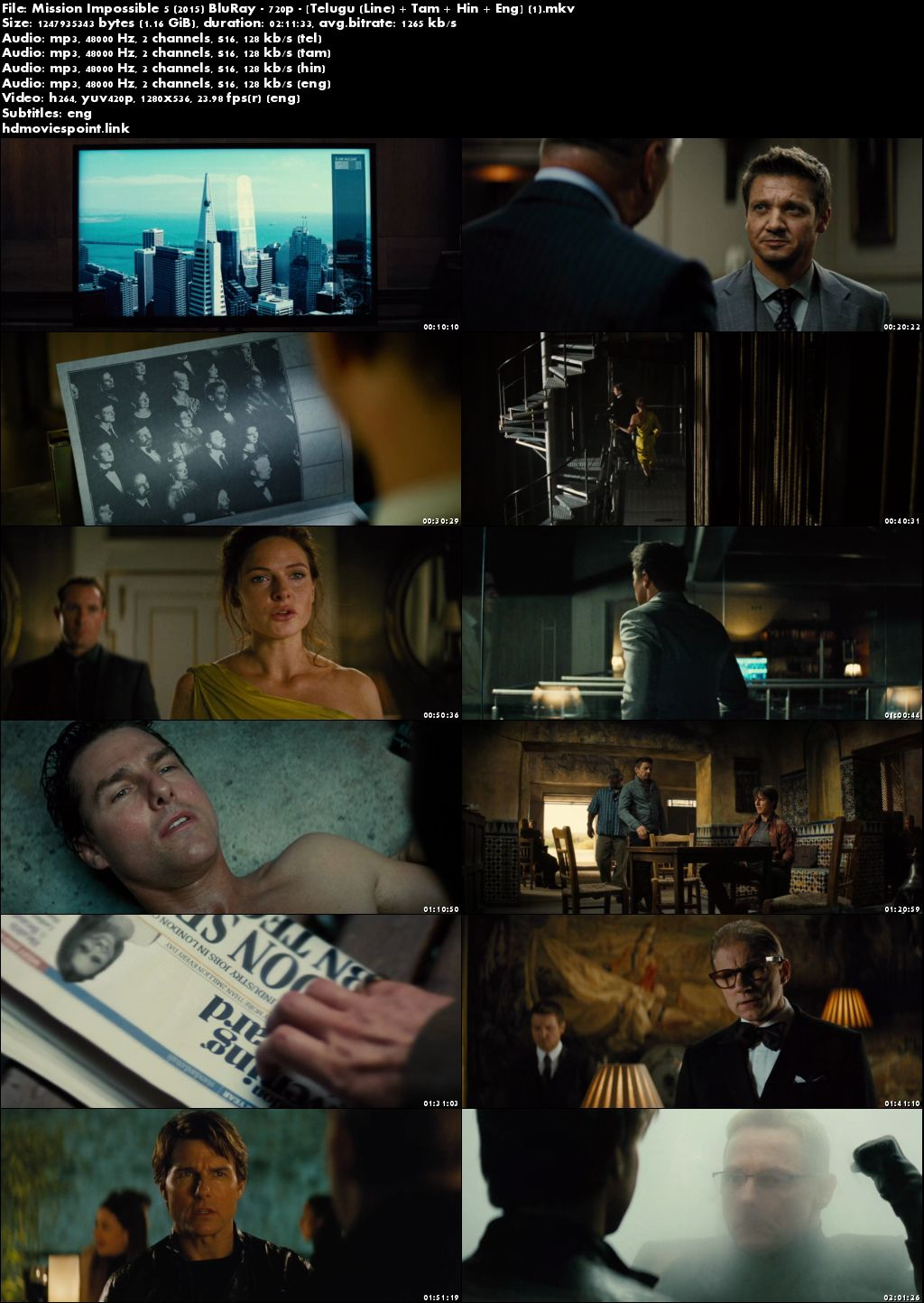 screen shot Mission Impossible - Rogue Nation 2015 Full Movie Download Dual Audio