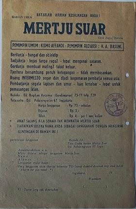 Selebaran berlangganan Harian Umum Mertjusuar ( Yogyakarta)