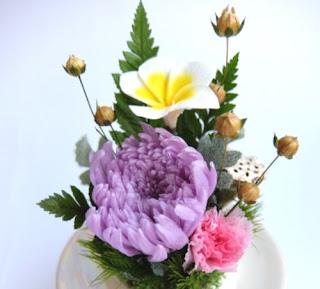 輪菊とプルメリアの仏花