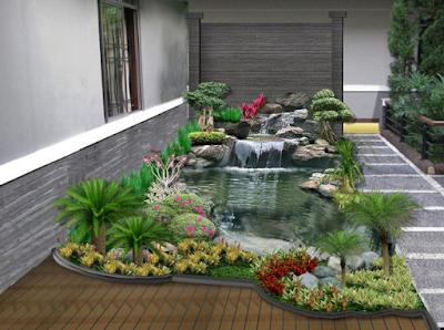 Model Taman Minimalis Dengan Kolam Ikan