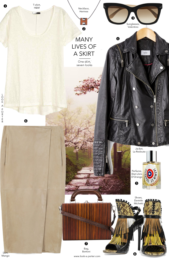 Many ways to style a suede midi skirt with a look inspired by Japanese warriors and a pair of shoes via www.look-a-porter.com style & fashion blog / daily outfit ideas to love, style & wear