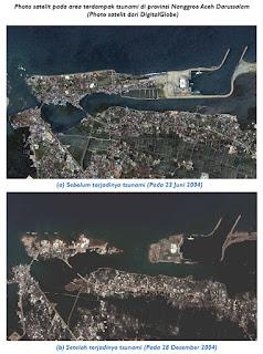 Photo satelit dampak tsunami akibat gempa bumi di Provinsi Naggroe Aceh Darussalam (NAD)
