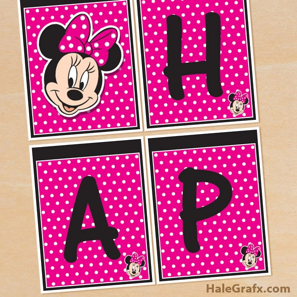 "Minnie Mouse: Free Printable ""Happy Birthday!"" Banners."