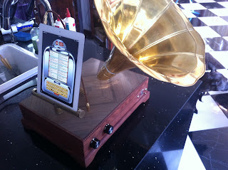 Recycled gramophone horn used in a device which plays iPads and iPhones