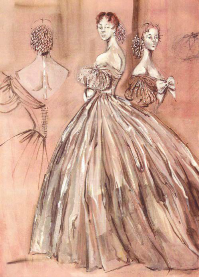 Irene Sharaff Costume Sketch for 1956's The King and I