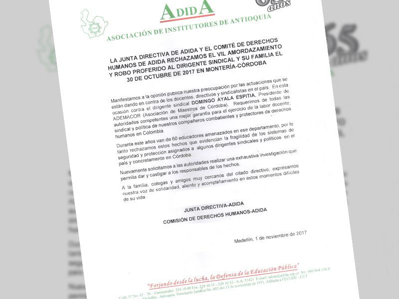 Comunicado-junta directiva y derechos humanos-Adida