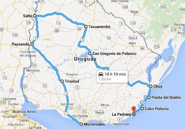Viagem de carro pelo Uruguai - Mapa