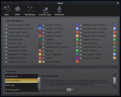 sky settings window from Stellarium with colour buttons