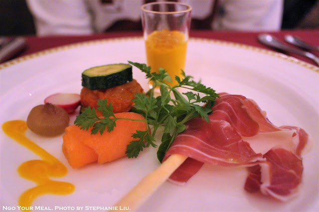 Hors D'oeuvres Sampler (Salmon Sashimi, Ratatouille, Prosciutto, Carrot Mousse) at Magellan's in DisneySea, Tokyo, Japan