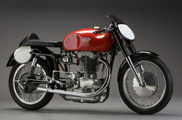 Red Gilera Saturno 1950s Italian classic motorcycle