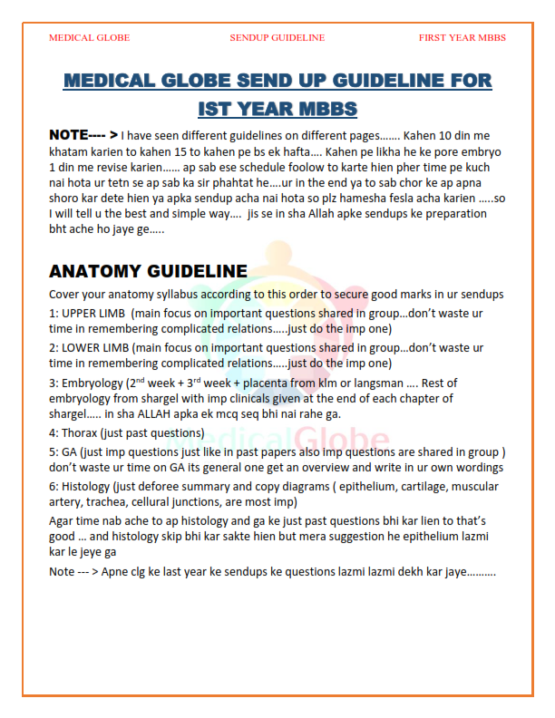 SEND UP GUIDELINE FIRST YEAR MBBS BY MEDICAL GLOBE - SEEN MEDICAL IDEAS