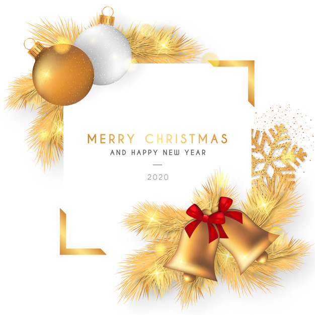 merry christmas Beautiful christmas frame with golden decoration Free Vector