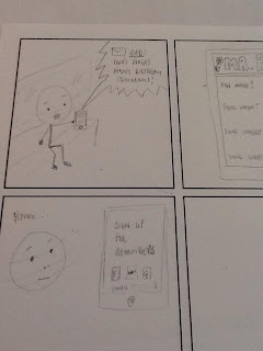 My rough first attempt at a UX comic
