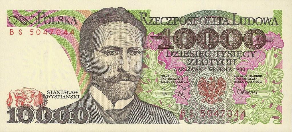 Poland Banknotes 10000 Zloty banknote 1988 Stanislaw Wyspianski