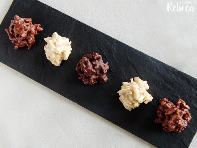 Rocas de almendra y chocolate