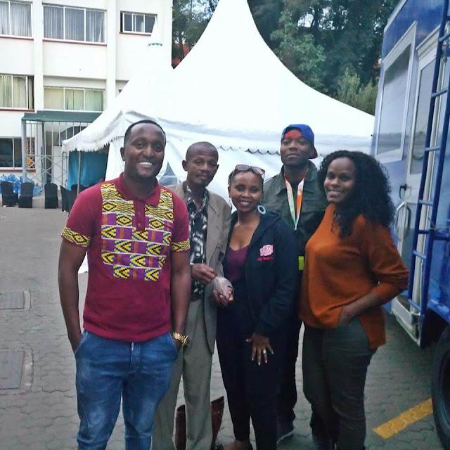 Kamotho with Citizen radio Mambo Mseto crew | Photo by | Tuva