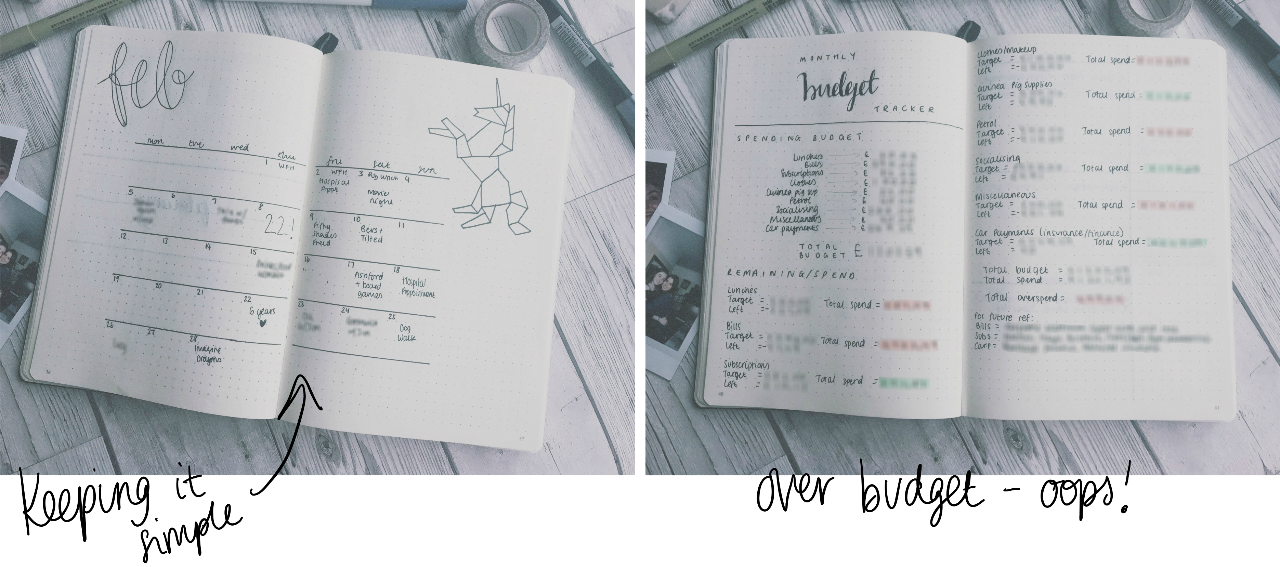 February Monthly Spread & Budget Tracker
