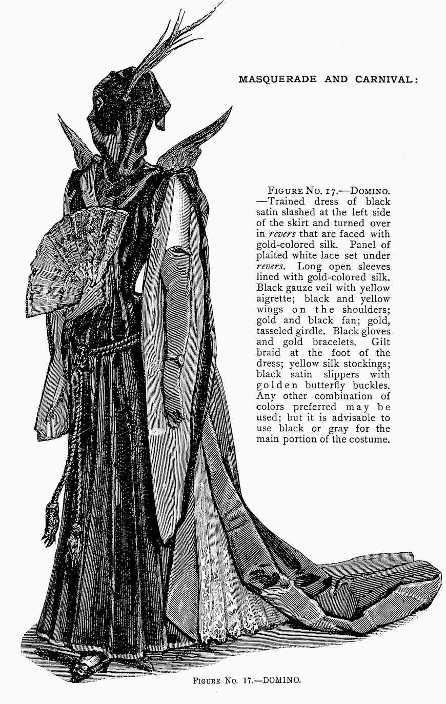 a 1892 masquerade costume called Domino, a hooded and winged woman's costume illustrated, neo Gothic
