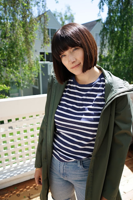 Uniqlo, Postpartum, Urban Outfitters, style, fashion, Mom blog, Mysf, Brunette, Rain coat