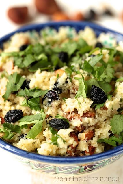 taboulé végétal , chou-fleur, fruits secs , coriandre