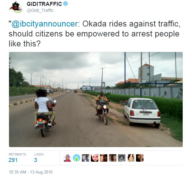 Should Nigerians be empowered to arrest traffic offenders? See Twitter users' reply