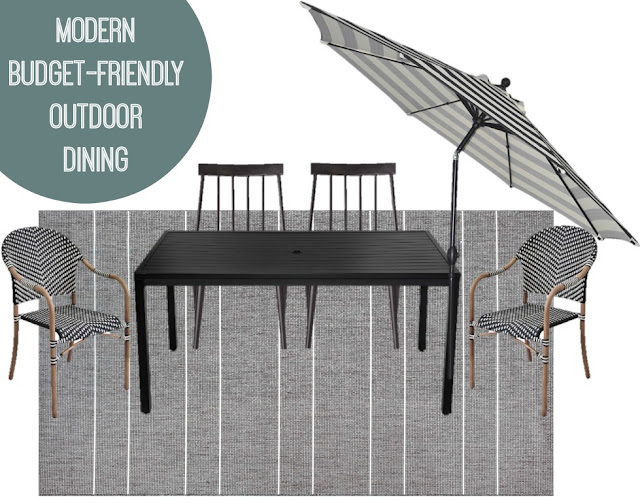 modern patio dining area mood board