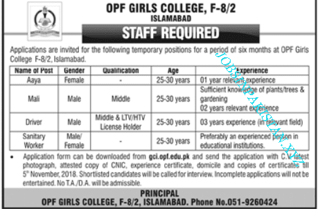Advertisement for OPF Girls College Islamabad Jobs 2018