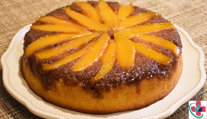 A classic upside cake recipe made with mangoes
