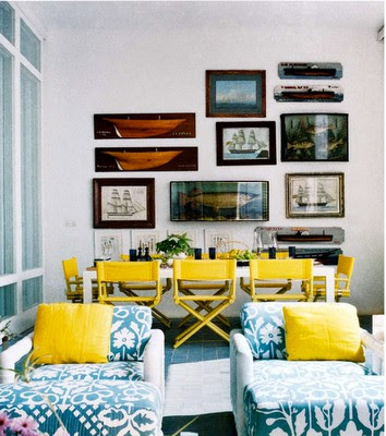 Bright Yellow Nautical Dining Room