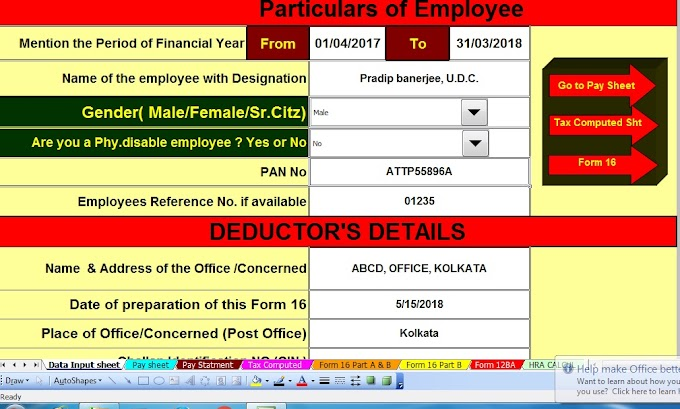 Download Automatic All in One TDS on Salary for Govt and Non-Govt employees for F.Y.2017-18 and A.Y. 2018-19 With Important things salaried individuals should know about salary