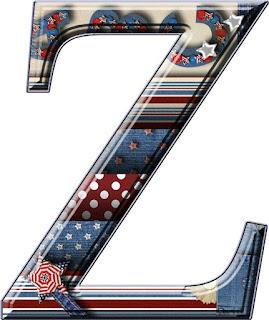 Abecedario de Bandera USA con Parches de Mezclilla. USA Flag Alphabet with Denim Patches.