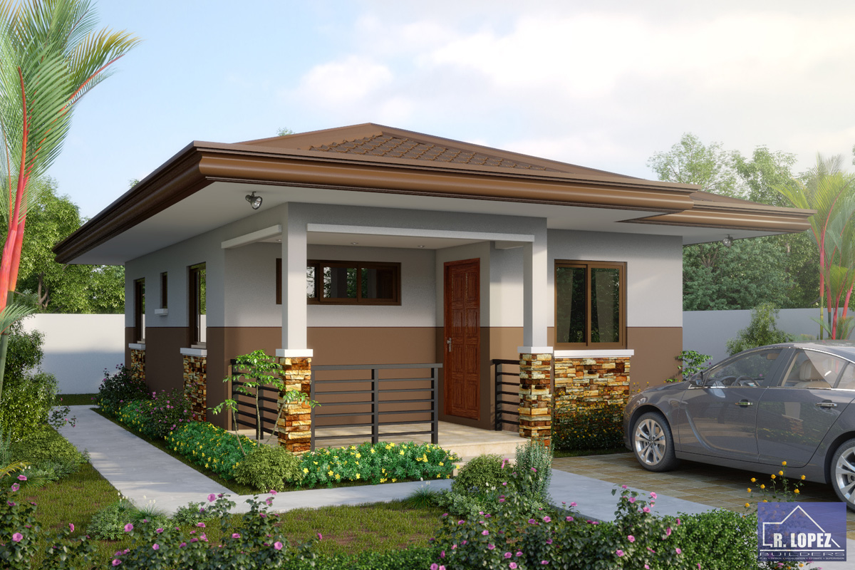 Small and simple house with small living room small for Minimalist bungalow house design