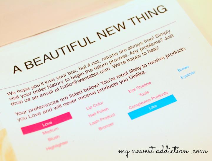 wantable january 2014 makeup subscription box packing slip