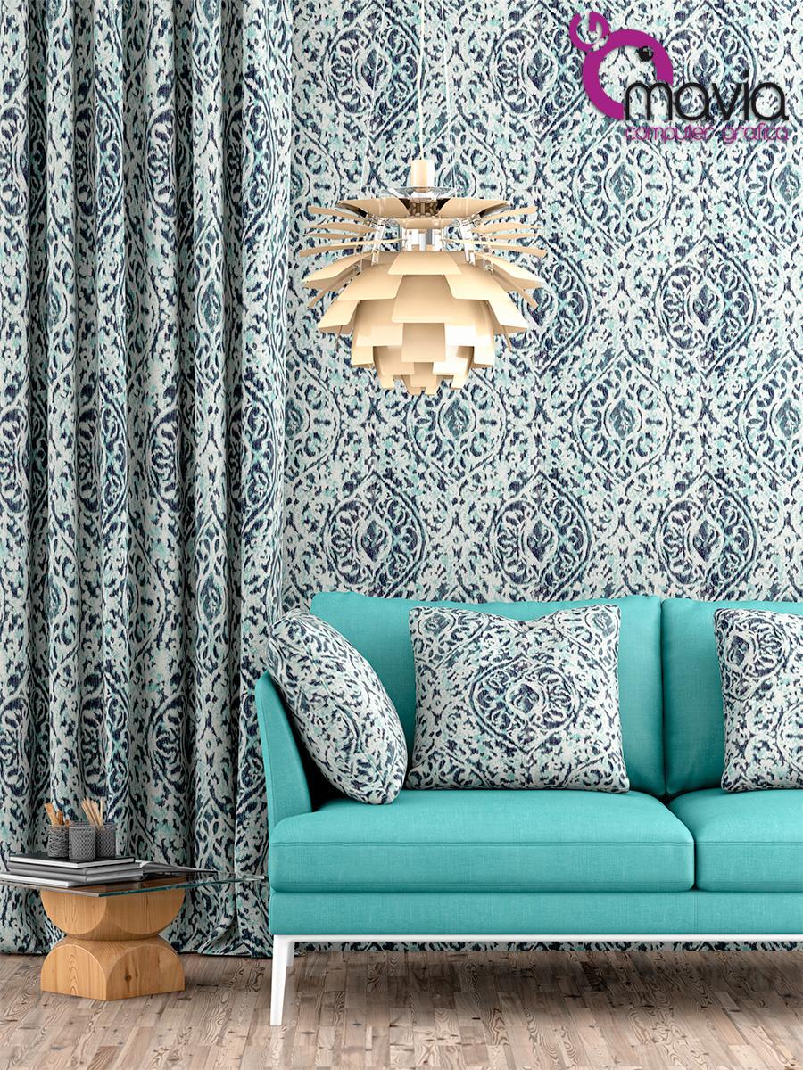 Arredamento di interni Rendering 3dTessuti divani tende cuscini e pareti tessuti damascati Fotografia pubblicitaria