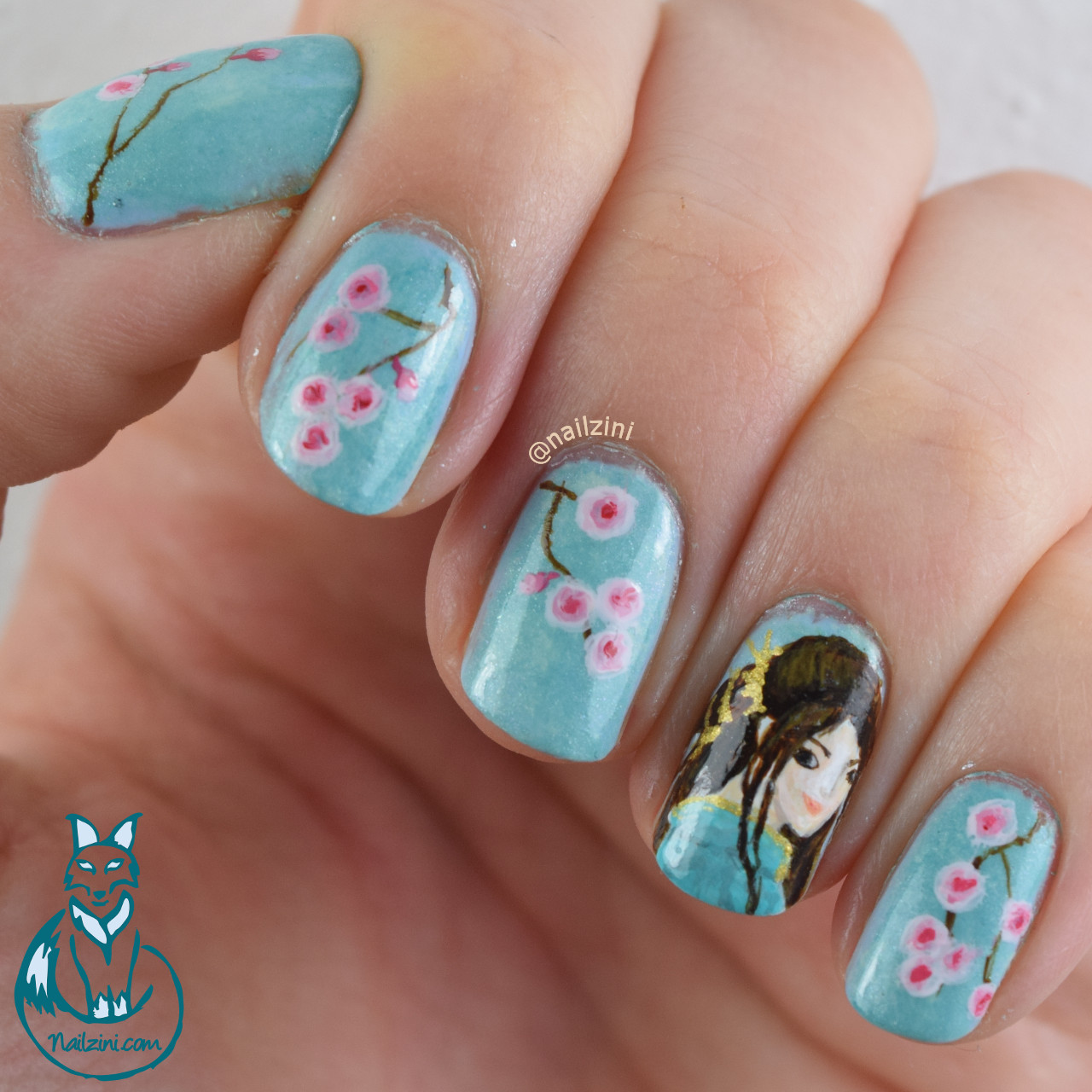 Japanese Cherry Blossom Nail Art