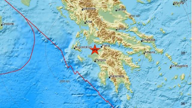 Σεισμός 4,2  Ρίχτερ νοτιοδυτικά της Πάτρας
