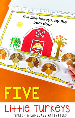 Five Little Turkeys is just one of the fabulous fall songs and fingerplays for preschool speech therapy in this post. Lisette shares links to the best Youtube videos to teach them, speech and language targets and more autumn speech and language activities for your fall themes. #speechsprouts #speechandlanguage #preschool #fallpreschoolactivities #turkeytheme #fingerplays