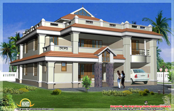 Beautiful Kerala style house elevation 1