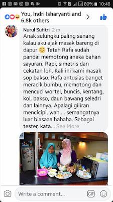 komentar dan foto masak bersama anak perempuan di akun facebook barbie nurul sufitri blogger