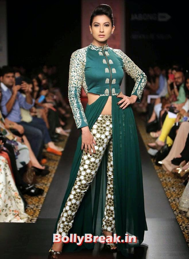 Gauhar Khan in a Sonam and Paras Modi creation., Gauhar Khan Lakme Fashion Week Pics in Green Dress