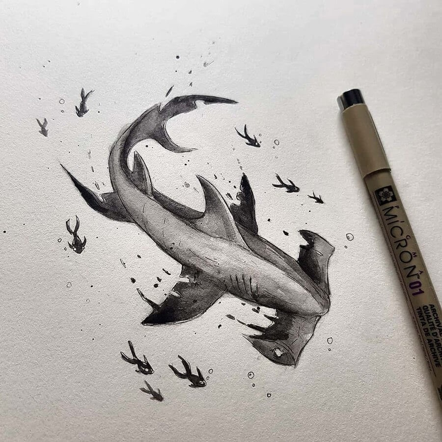 12-Hammerhead-Shark-and-Fish-Kleevia-Animal-Art-www-designstack-co