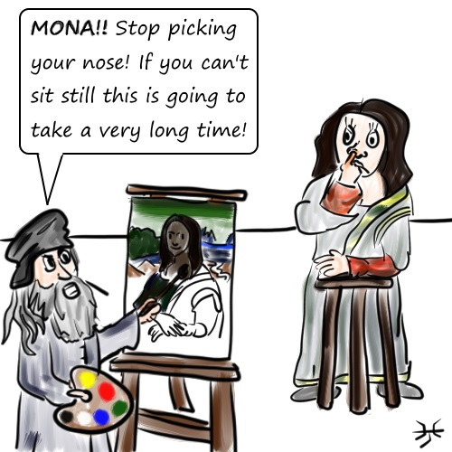 da Vinci is angry! Sit still Mona