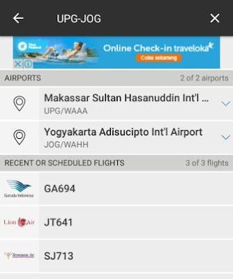 Hasil filter penerbangan berdasarkan rute UPG-JOG, ditemukan 3 flight