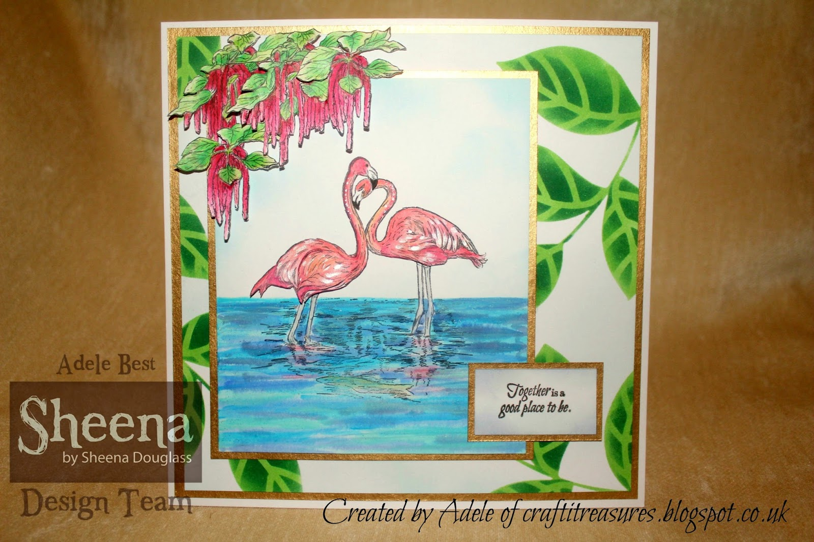 New Sheena Douglass Temptingly Tropical Rubber Stamp Flamingos