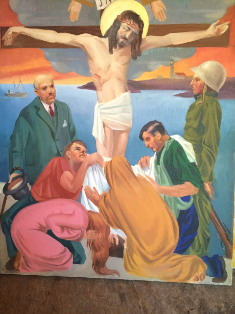 "Image of Painting by ""Francis J. Quirk"" ""Twelfth Station of the Cross""  ""Jesus Dies on the Cross"""