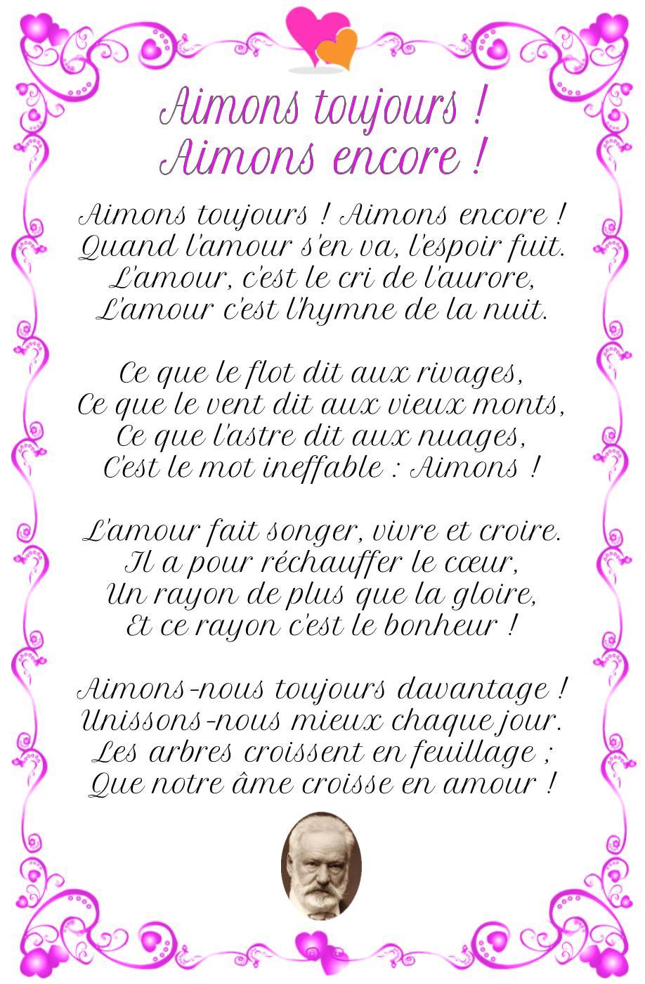 Poème : Aimons toujours, de Victor Hugo