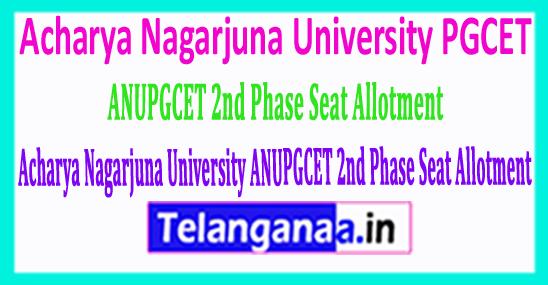 Acharya Nagarjuna University ANUPGCET 2nd Phase Seat Allotment 2018 Download
