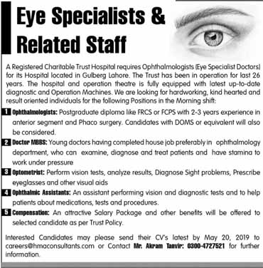 Eyes Specialist related Staff required