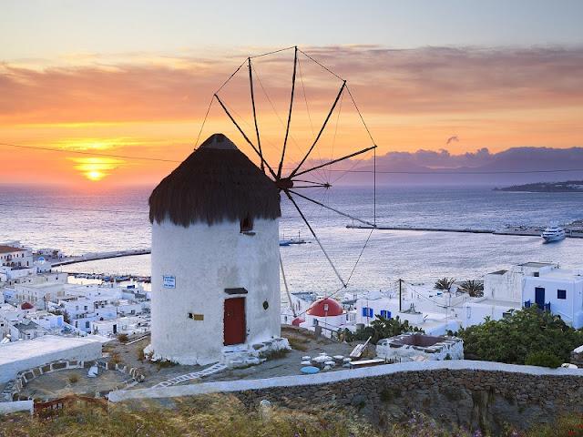 Pôr-do-sol nos moinhos, Mykonos
