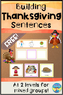 Picture sentence activity for Thanksgiving free from Looks Like Language!